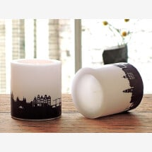 -Two AMSTERDAM candles with Skylineprint in plum-2