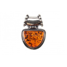 -Silver amulet with amber-21