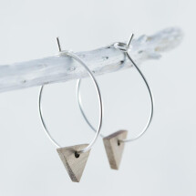 -Wooden walnut TRIANGLE EARRINGS-21