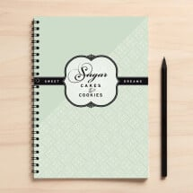 "-A5 mint green recipe book ""Sugar""-21"