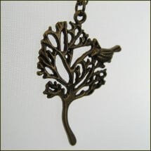 -Pretty brass chain with a tree pendant with bird-21