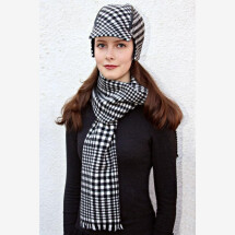 -checkered fringed scarf SOLO_215-22