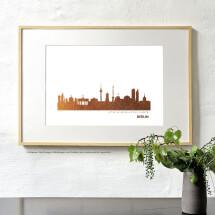 "-Kunstdruck Skyline ""Berlin"" in Kupfer Stadt wählbar-2"