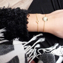 -Bracelet with discs motive wavy frosted gold-plated-20