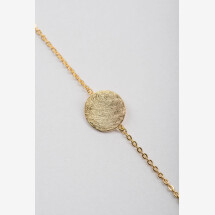 -Bracelet with discs flat frosted motif gold plated-20