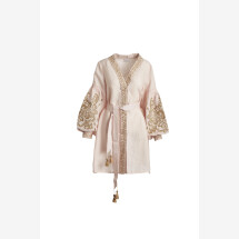 -Peach embroidered linen dress Oksa-2