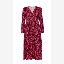 -Midi dress with floral print in burgundy and pink-21
