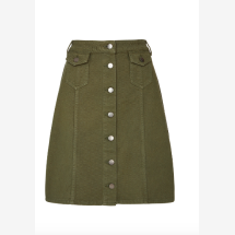 -Olive-colored skirt with buttons-21
