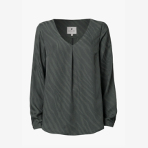 -Green long-sleeved blouse made of Tencel-21
