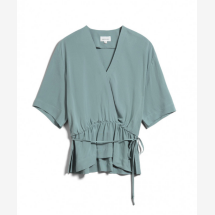 -Green viscose blouse with a wrap-around look-21