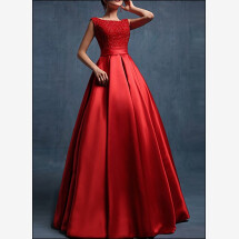 -Red floor length satin wedding dress-22