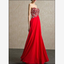-Red evening gown with Rhinestone and chiffon skirt-24