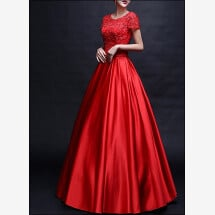 -Red ball gown with transparent neckline and sleeves-21