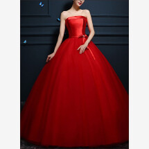 -Red Princess ball gown with tulle skirt-24