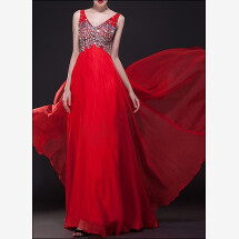 -Red evening dress with sequins embroidery-21