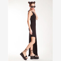 -Black Long Asymmetrical Dress from NOSTRASANTISSIMA-21