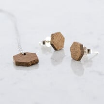 -Sapele Hexagon Stud Earrings and Necklace Set Sapele-21