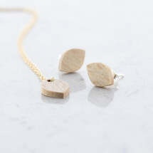 -Oval stud earrings and necklace set beech-21