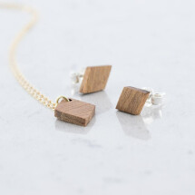 -Sapele Wood Diamond Stud Earrings and Necklace Set Sapele-21