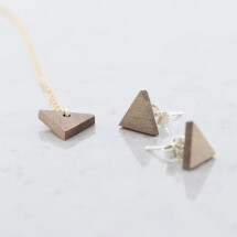 -Walnut Triangular Stud Earrings and Necklace Set Walnut-21