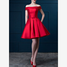 -Red cocktail dress made of satin with U-boot cut-out-24