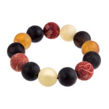 "-Colorful natural amber and coral bracelet ""The Sea""-21"