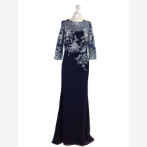 -Evening dress with lace and three-quarter sleeves-21