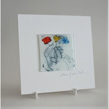 -Glass picture Three flowers 15x15 white-21