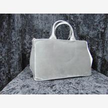 -Leather velvet handbag gray-21