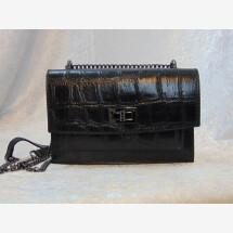 -Leather crocodile handbag with chain-21