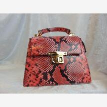 -Lederhandtasche Pythonprägung rot-21