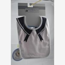 -Pink sailor style organic cotton bib-21