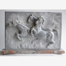 -Horses High relief Bardiglio marble-21