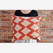 -Kilim wool cushion Honeycombs-24