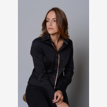 -Ladies blouse black with concealed button placket and fine ribbon-21