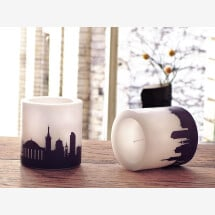 -Two DÜSSELDORF candles with Skylineprint in plum-2