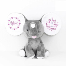 -STUFFED TOY DUMBO ELEPHANT GRAY EMBROIDERED WITH NAME-21