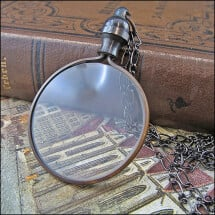 -Dark patinated vintage gothic loupe on black anchor chain-2