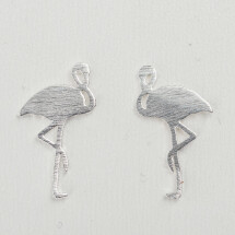 -Silver-plated earrings with flamingo motif-21