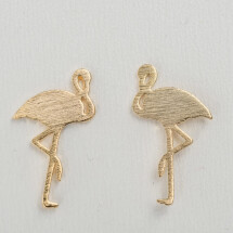 -Gold plated earrings with flamingo motif-20