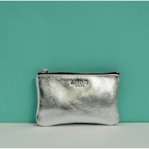 -Leather cosmetic bag silver June Small-21