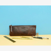 -Leather pencil case dark brown-21