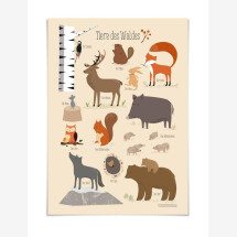-Forest animals poster with wooden strip 54 illustration-21