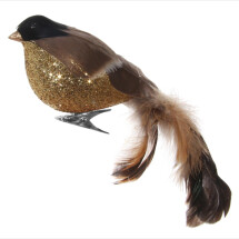 -Feather bird gold glitter body natural on clip 18cm-21