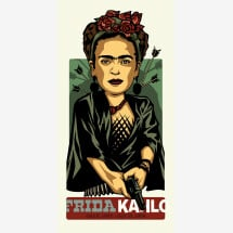 -Famous Mexican painter / woman with floral decorations print 30 x 60 cm-2