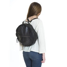 -Round black leather backpack-21