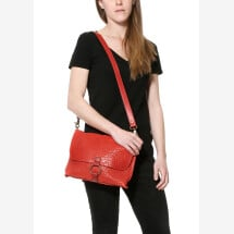 -Red Leather Messenger crossbody and clutch Anna-24