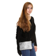 -Silver Leather Clutch and Carolina Crossbody-23