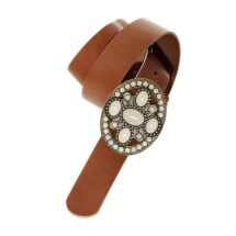-Oval White stones buckle and brown Leather Belt-21