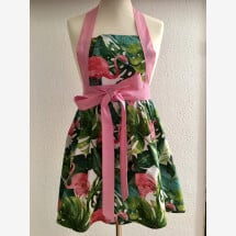 -Chic cooking apron in pink / green with flamingos-21